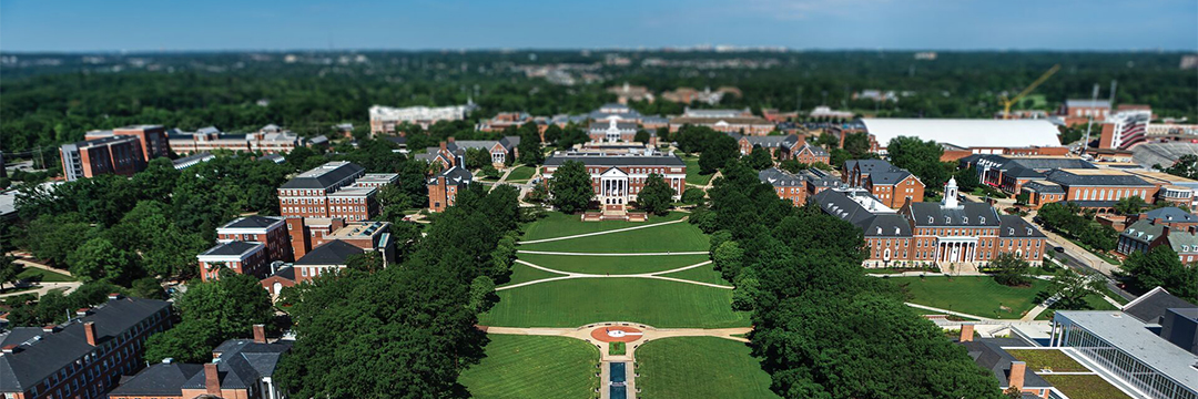 Aerial view of campus overlooking McKeldin Mall