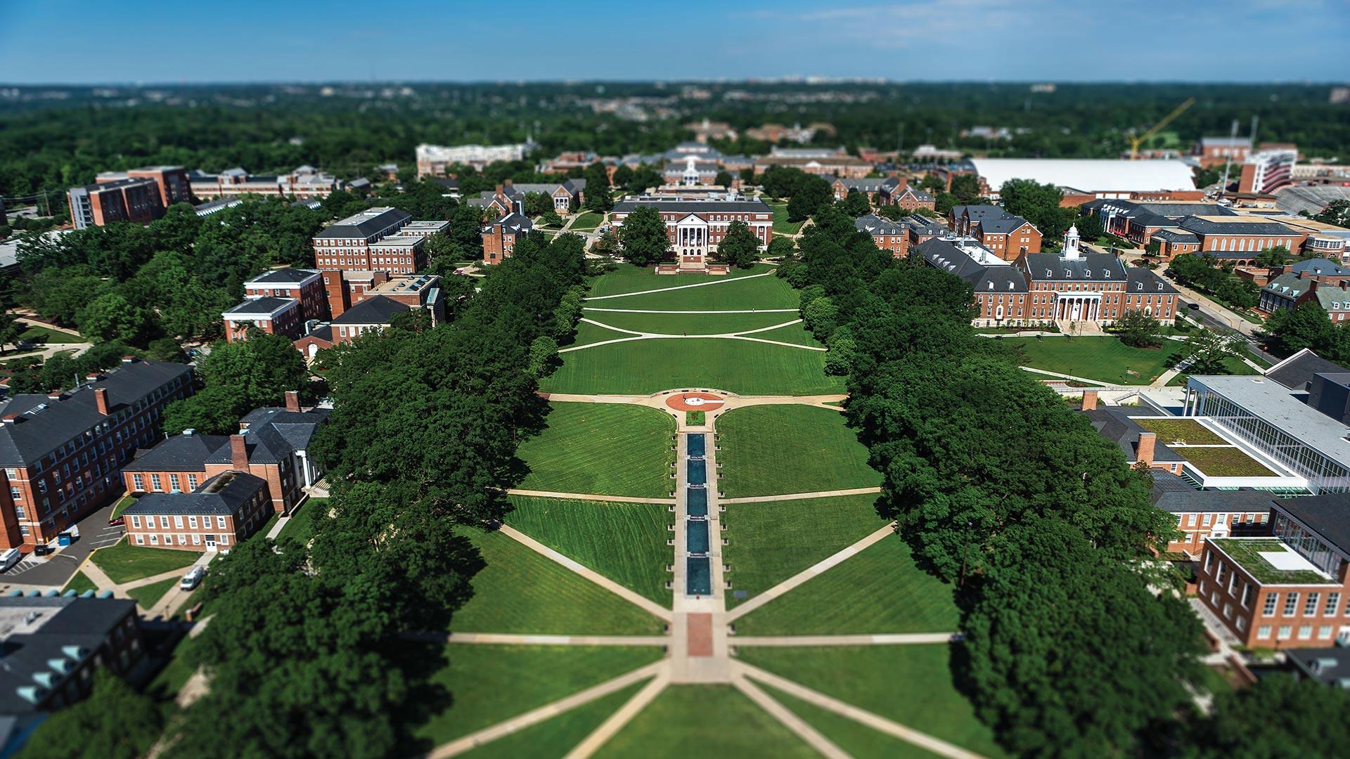 Campus Aerial on McKeldin Mall