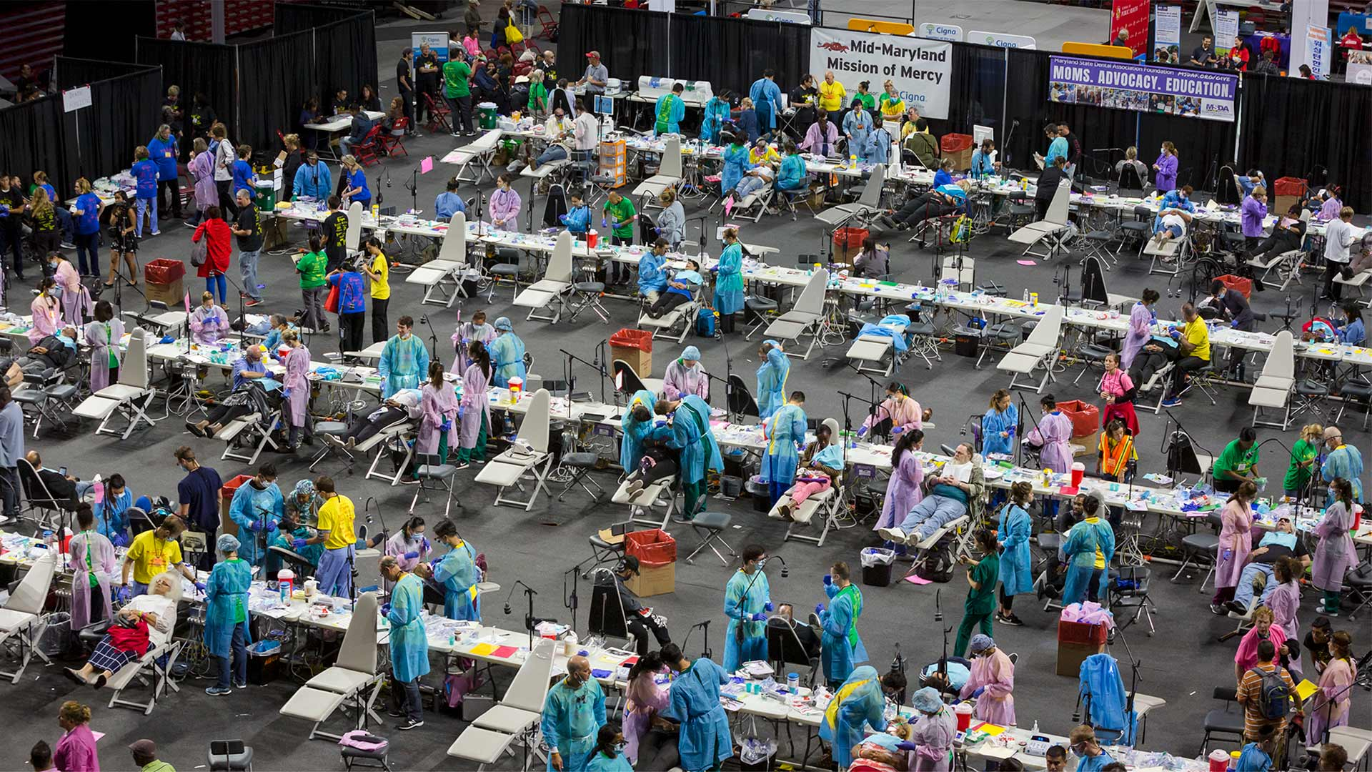 The Mid-Maryland Mission of Mercy & Health Equity Festival at the Xfinity Center featured free dental services ranging from cleanings and extractions to root canals and crown treatments, along with a variety of health screenings and other resources. (Photos by Stephanie S. Cordle)
