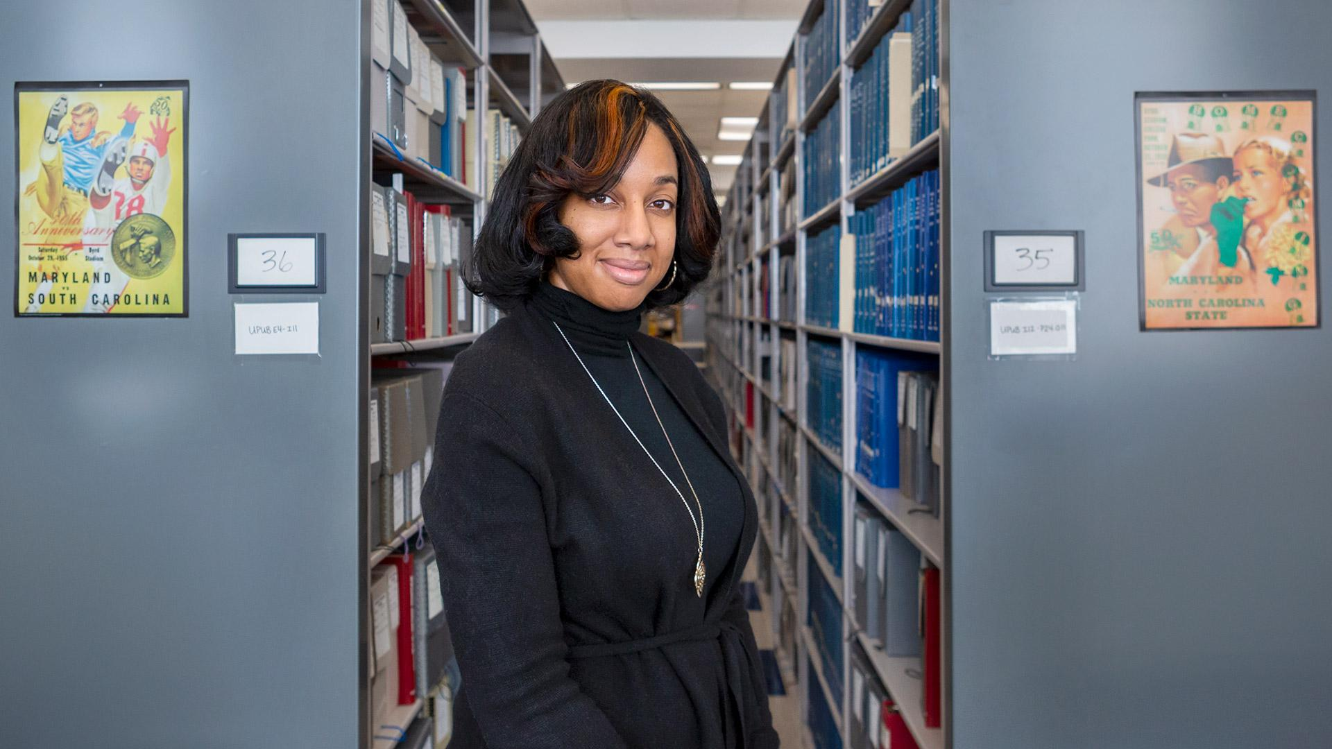 Lae'l Hughes-Watkins looks forward to documenting the role of students at UMD in her new position as university archivist. (Photo by Stephanie S. Cordle)