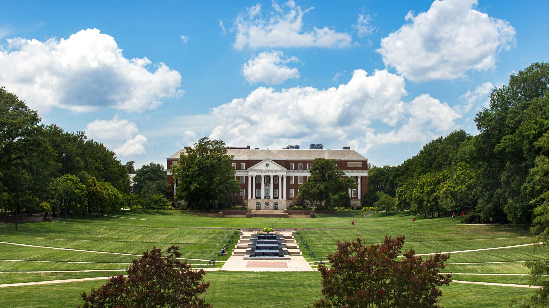 View of the Mall and ODK Fountain looking towards McKeldin Library, from the steps of Miller Administration Building.