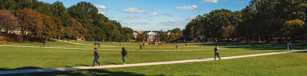 McKeldin Mall on the University of Maryland Campus, facing the Miller Administration Building