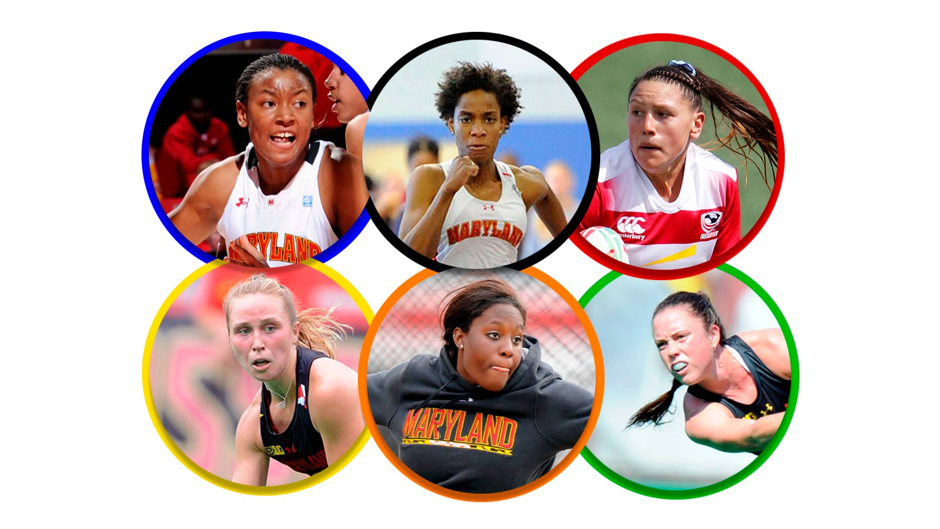 Clockwise from top left, Terps Diandra Tchatchouang, Thea LaFond, Abby Gustaitis, Grace Balsdon, Chioma Onyekwere and Nike Lorenz will compete in the Tokyo Olympics, which open Friday. (Abby Gustaitis photo by Kevin Light/Getty Images; all other photos courtesy of Maryland Athletics; collage by Stephanie S. Cordle)