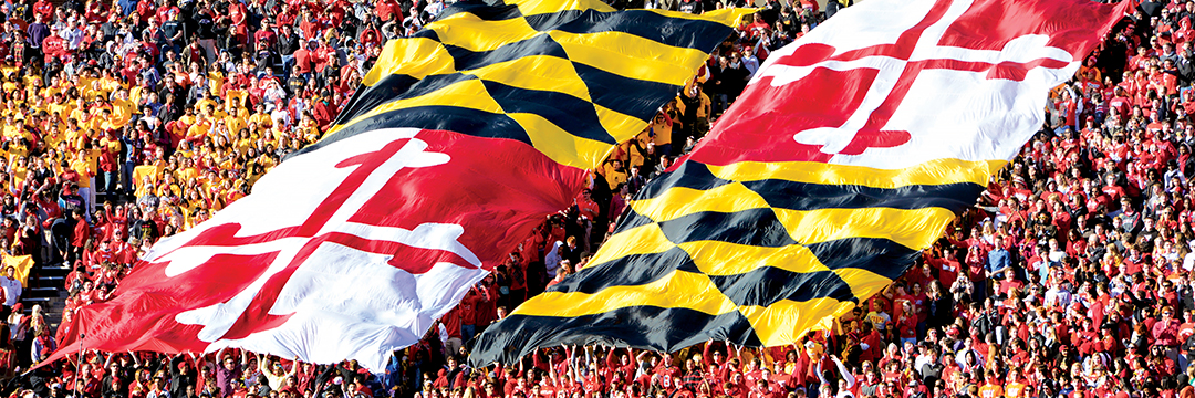 Football fans wave the State of Maryland flag