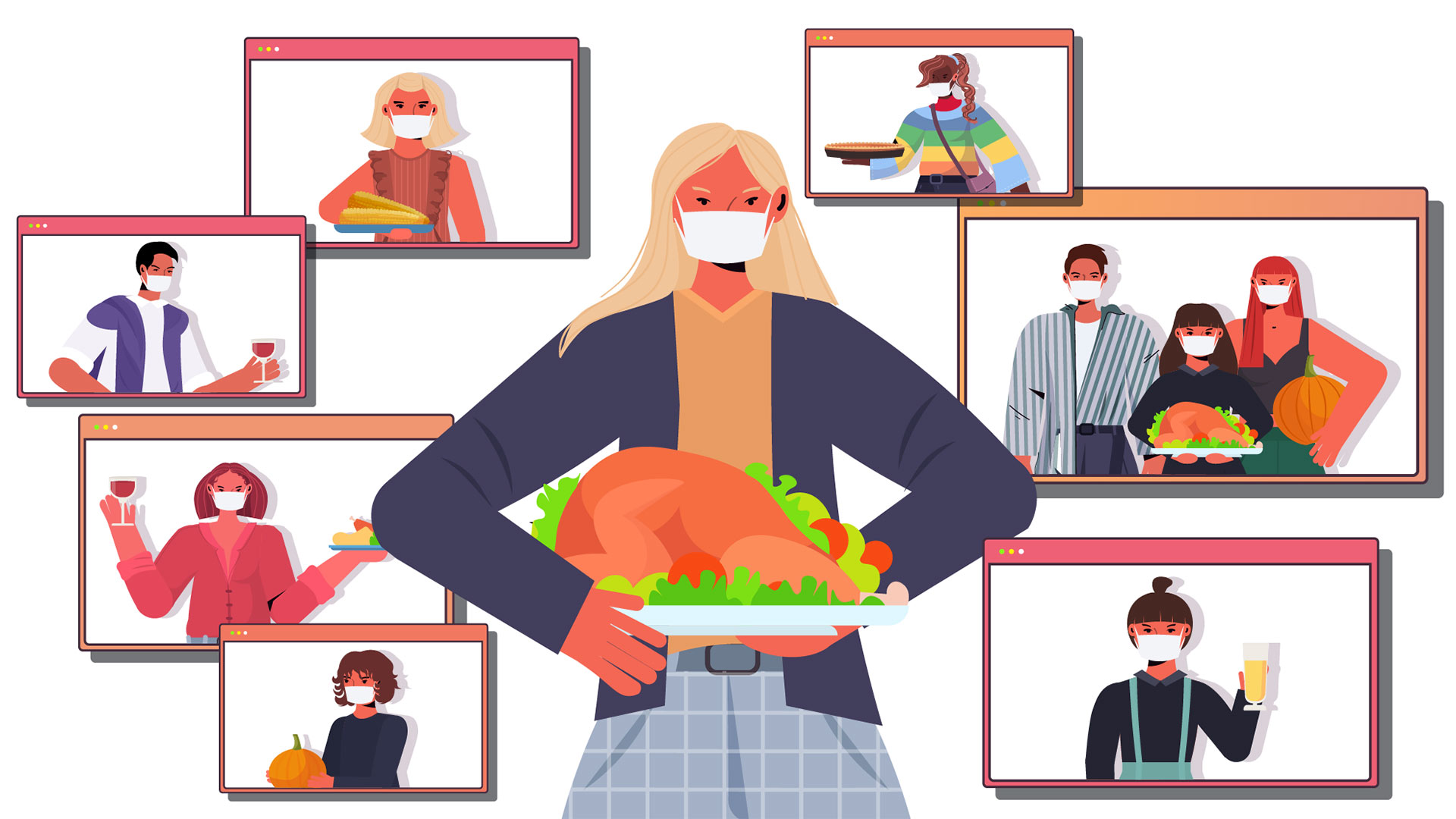 With the CDC recommending staying home this Thanksgiving, the Help Center, a student-run peer counseling and crisis intervention hotline, offered tips to make the most of the quieter-than-usual holiday. (Illustration by iStock)