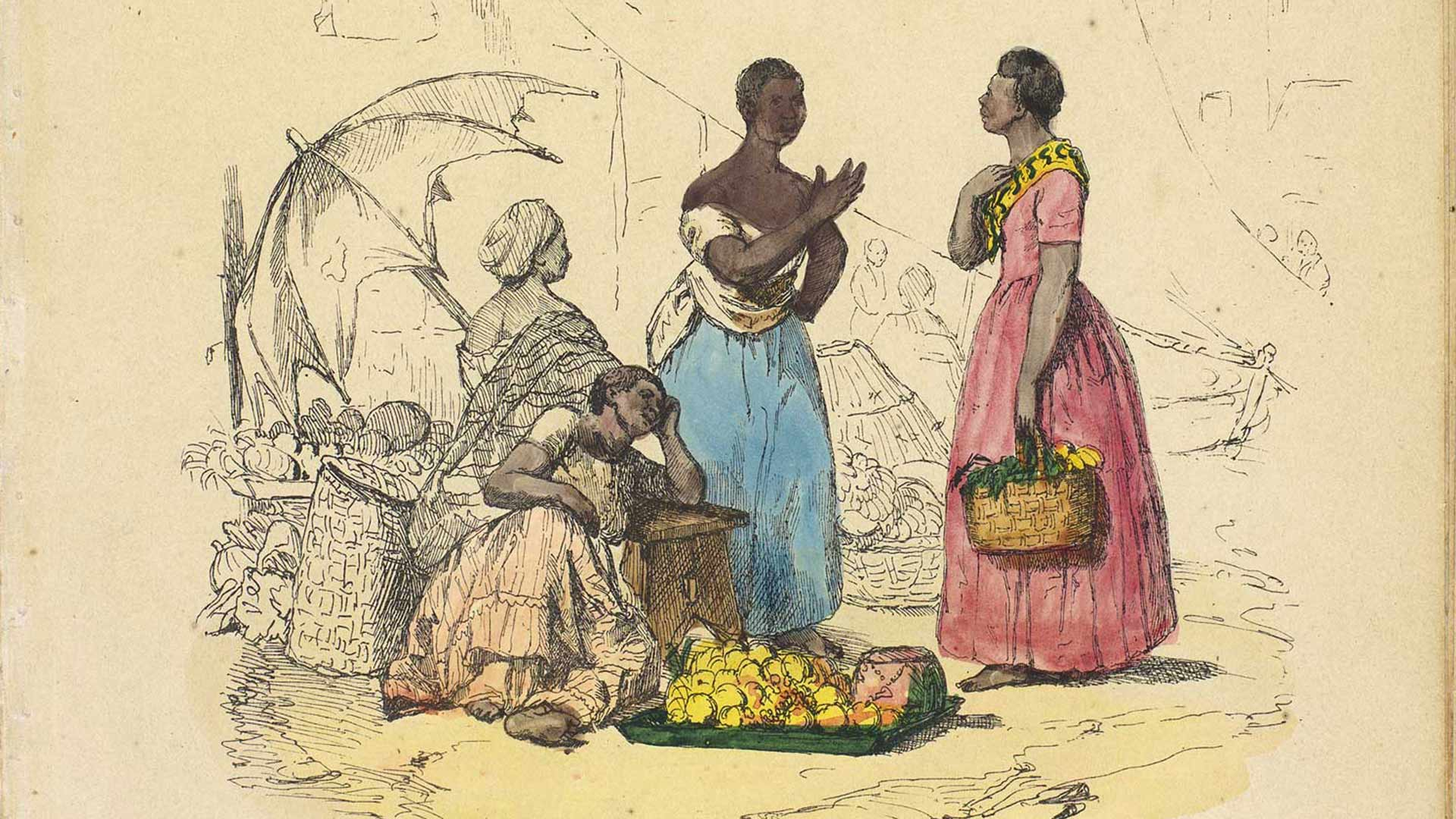 """The new digital database Enslaved.org: Peoples of the Historic Slave Trade seeks to recover fuller stories of individuals such as these women pictured on the 19th century lithograph """"A Market Scene"""" by Frederico Guilherme Briggs. (Image courtesy of BNDigital, Fundação Biblioteca Nacional, Rio de Janeiro)"""